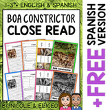 Boa Constrictor Close Reading Passage Activities