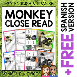 Spider Monkey Close Reading Passage Activities