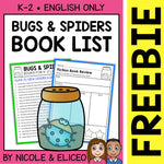 FREE Bug and Spider Activities and Book List