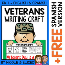 Load image into Gallery viewer, Veterans Day Writing Craft Activity