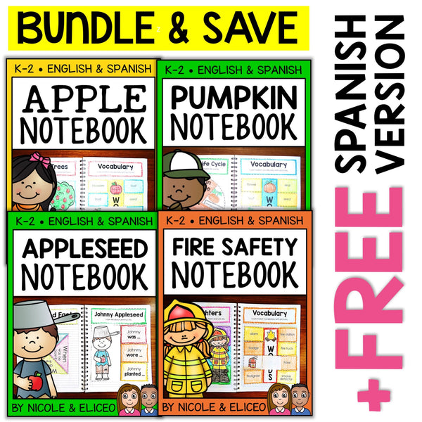 Fall Theme Interactive Notebooks Activities Bundle