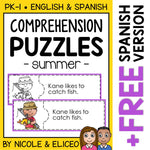 Summer Reading Comprehension Activity Puzzles