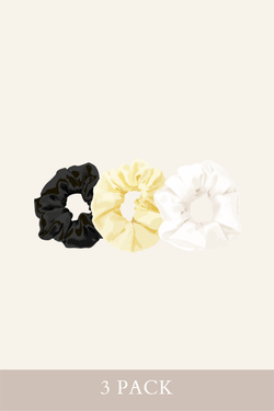 Shiny Scrunchies 3 Pack (Vanilla/Black/White)