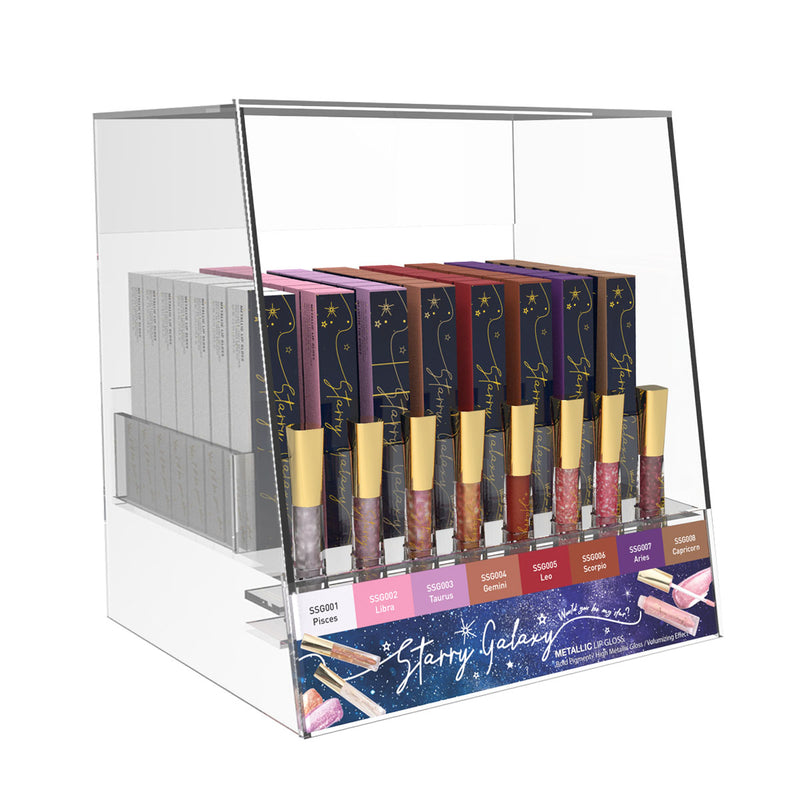Sistar Starry Galaxy Metallic Lip Gloss with Paper Acrylic Display