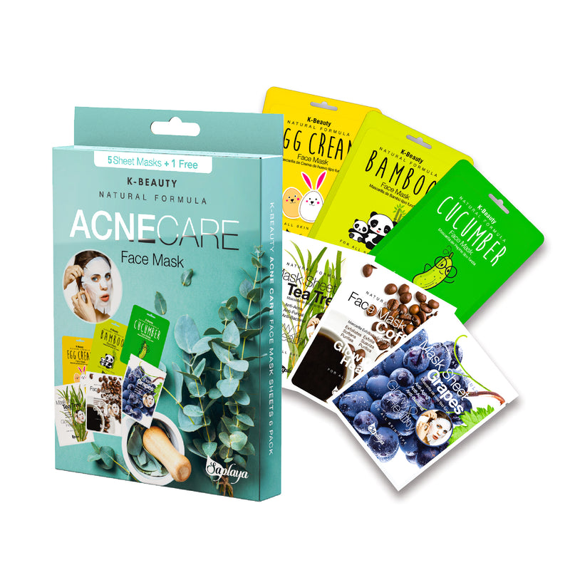 K-Beauty 6-Pack Face Mask Sheets | Acne Care