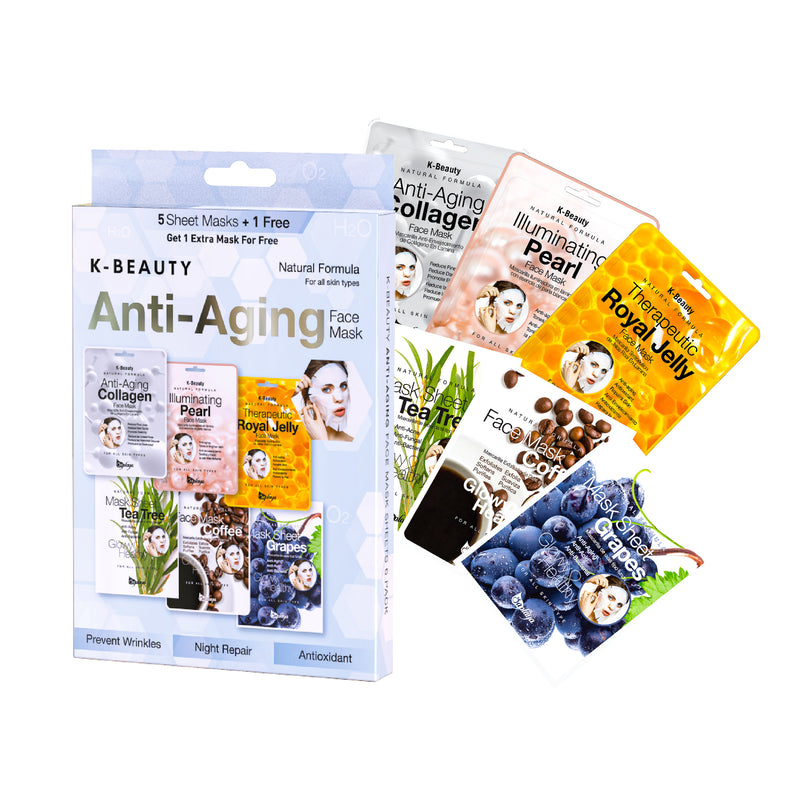 K-Beauty 6-Pack Face Mask Sheets | Anti-Aging
