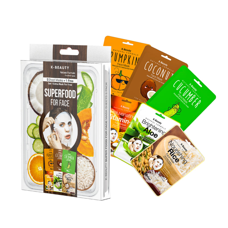 K-Beauty 6-Pack Face Mask Sheets | Super Food
