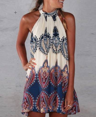 Boho Paisley Halter Dress