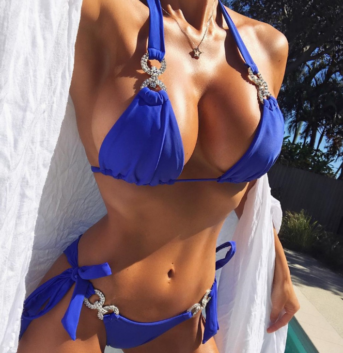 Halter Studded Design Bikini Sets