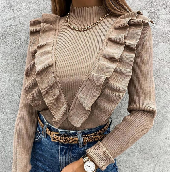 Fashion Solid Color Women'S Long-Sleeved Ruffled Knitted Top