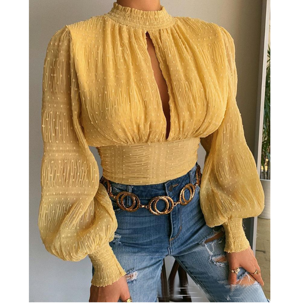 Long Sleeve Solid Color Yellow Top