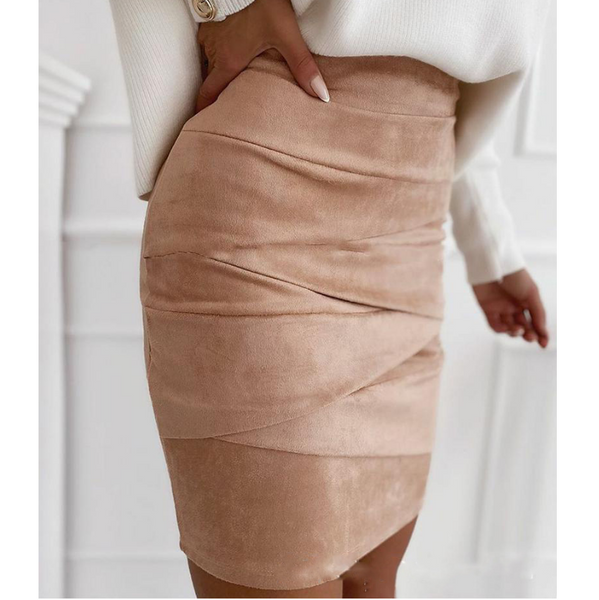 Solid Color Tight-Fitting Hip Skirt