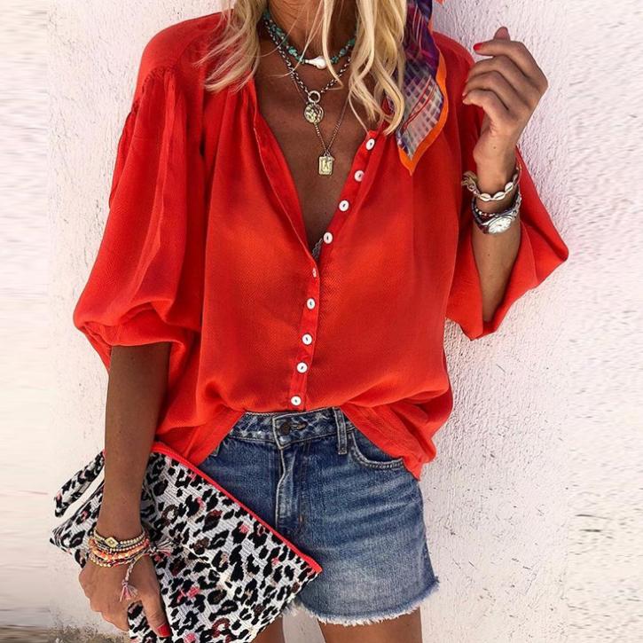 Loose Solid Color Chiffon Shirt