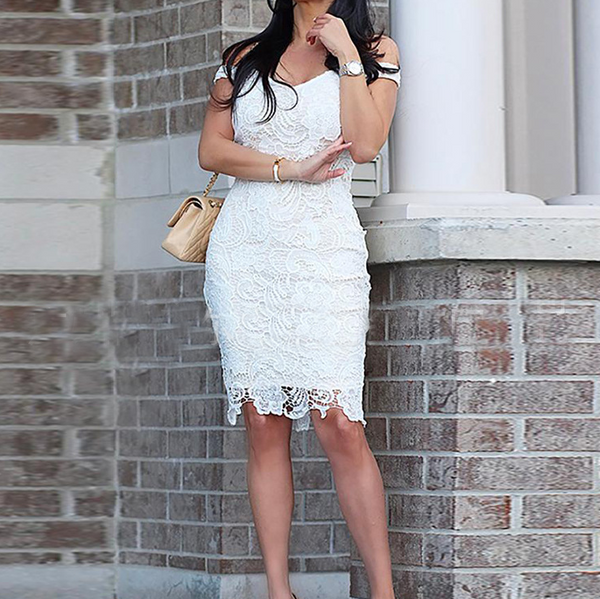 One Shoulder Lace Sexy White Dress