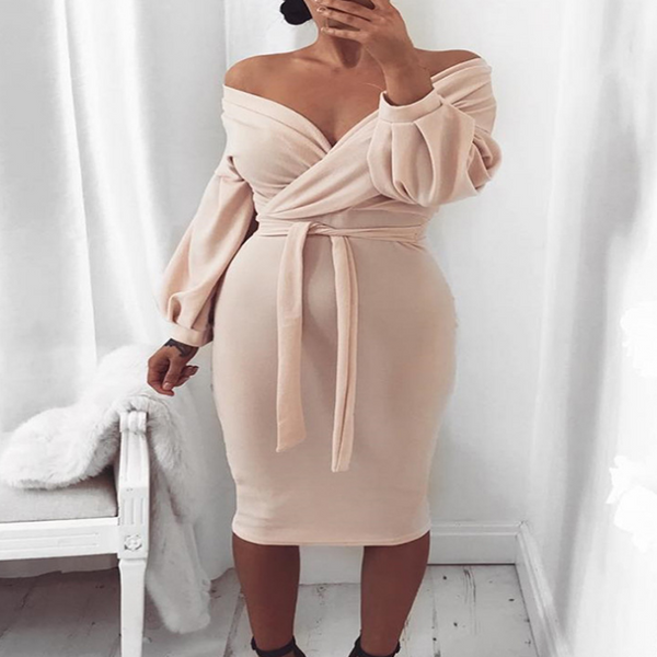 Design Off-The-Shoulder Long Sleeve Dress