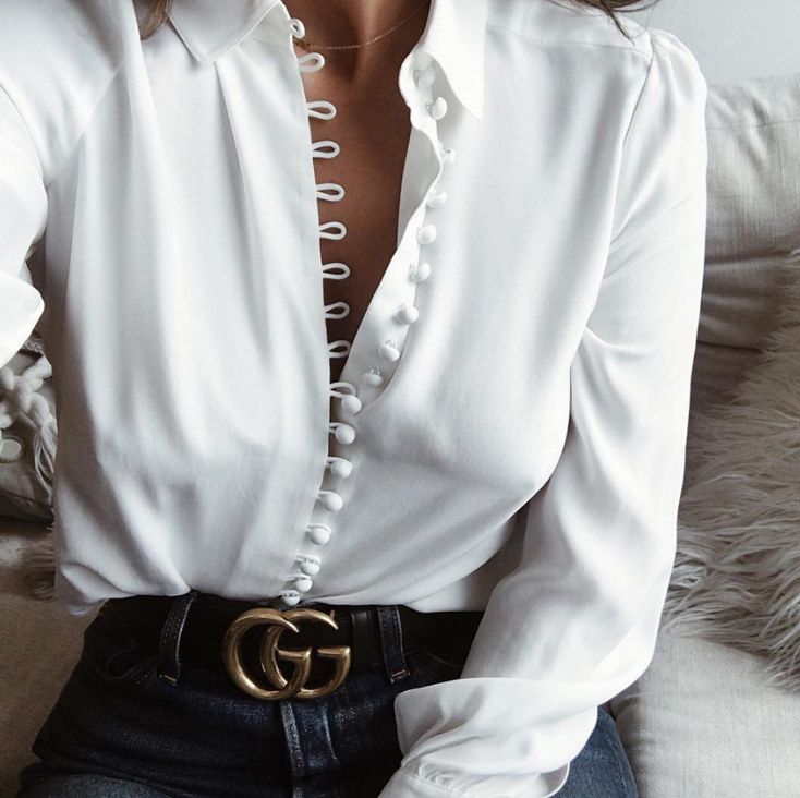 Long Sleeve White Blouse With Button Hooks