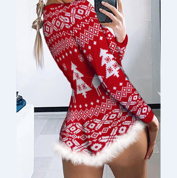 Christmas Fluffy Trim Button Front Lounge Romper