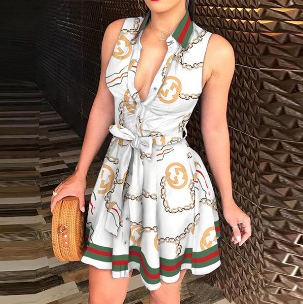 Deep V-Neck Sexy Printed Sleeveless Dress