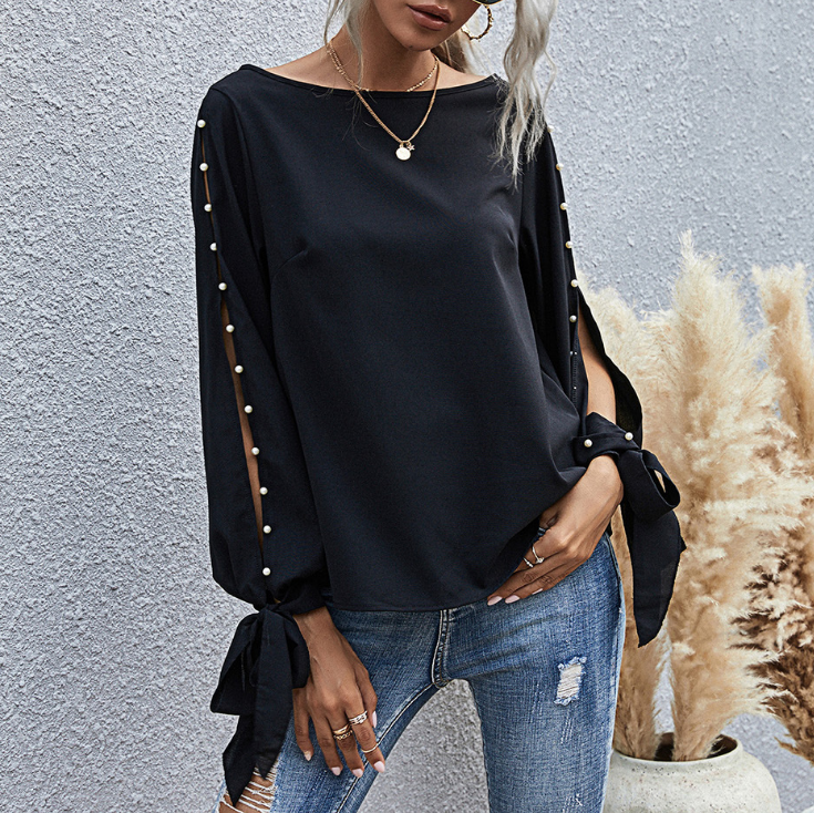 Solid Color Fashion Pearl Round Neck Long Sleeve Top