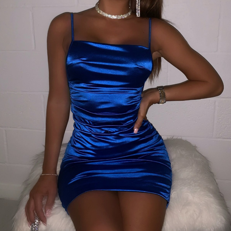 Sling Solid Color Sexy Sleeveless Dress