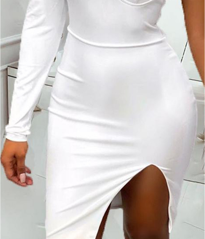 White Sexy One Shoulder Dress