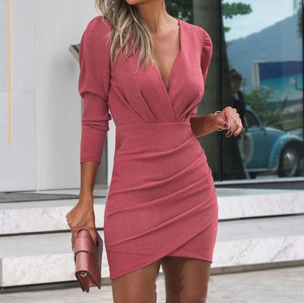 V-Neck Fashion Sexy Long Sleeve Dress