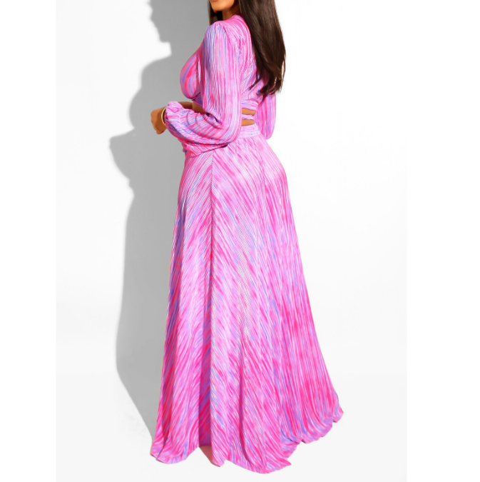 Women'S Long Sleeve Printed Chest Wrap Two-Piece Dress