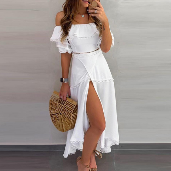 Elegant Solid Color One-Shoulder Ruffled Slit Dress