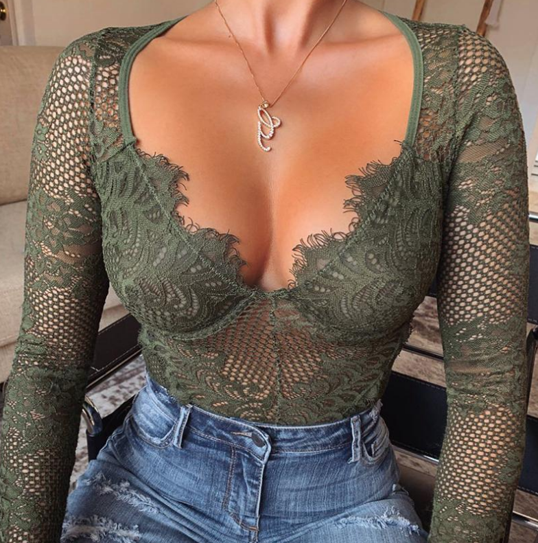 Sexy Long Sleeve Lace One-Piece Top
