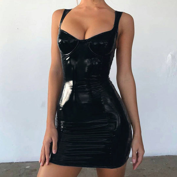 Zipper Sexy Wrap Chest Bright Leather Dress