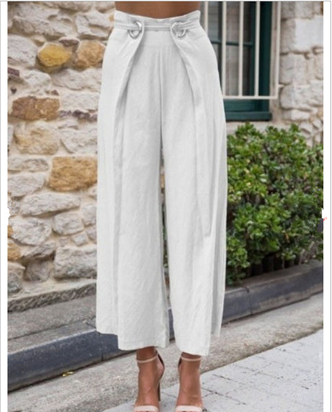 Casual Solid Color Loose High Waist Trousers