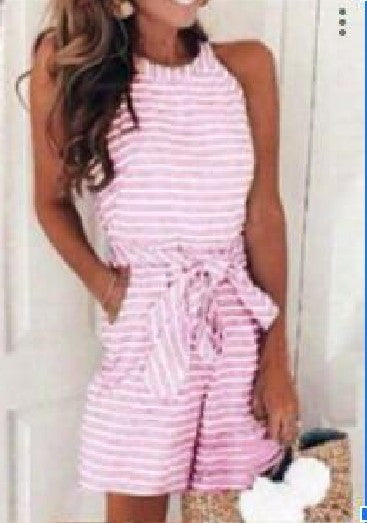 Sweet Fashion Sexy Striped Round Neck Jumpsuit