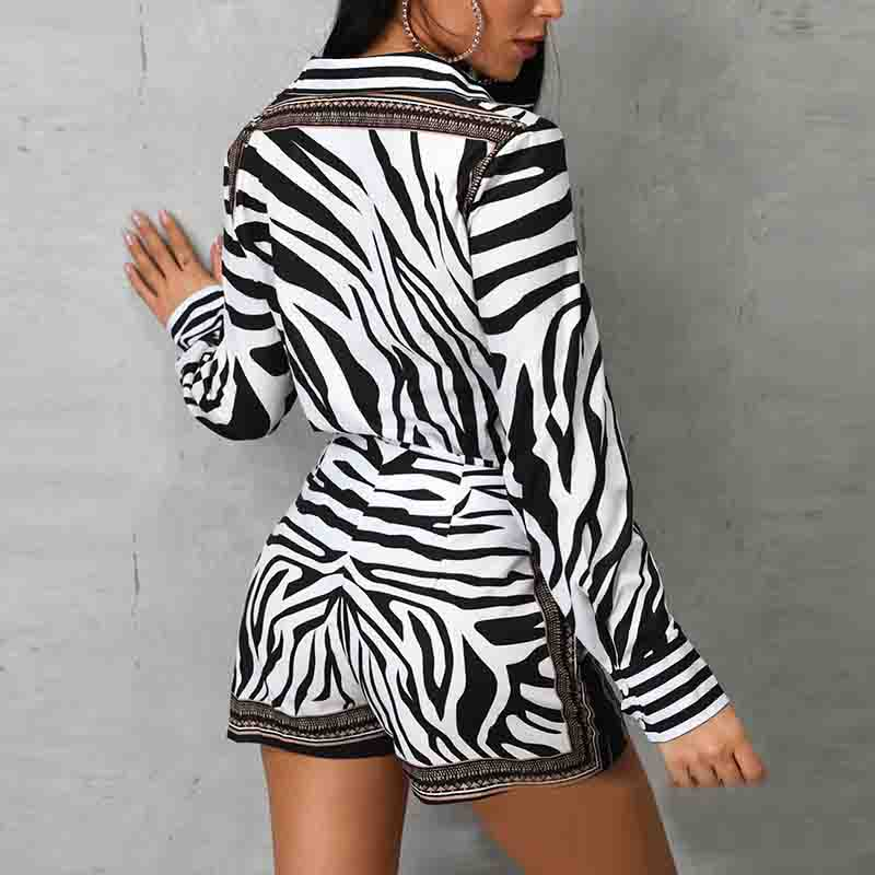 Print Design Zebra Shorts Two-piece Set