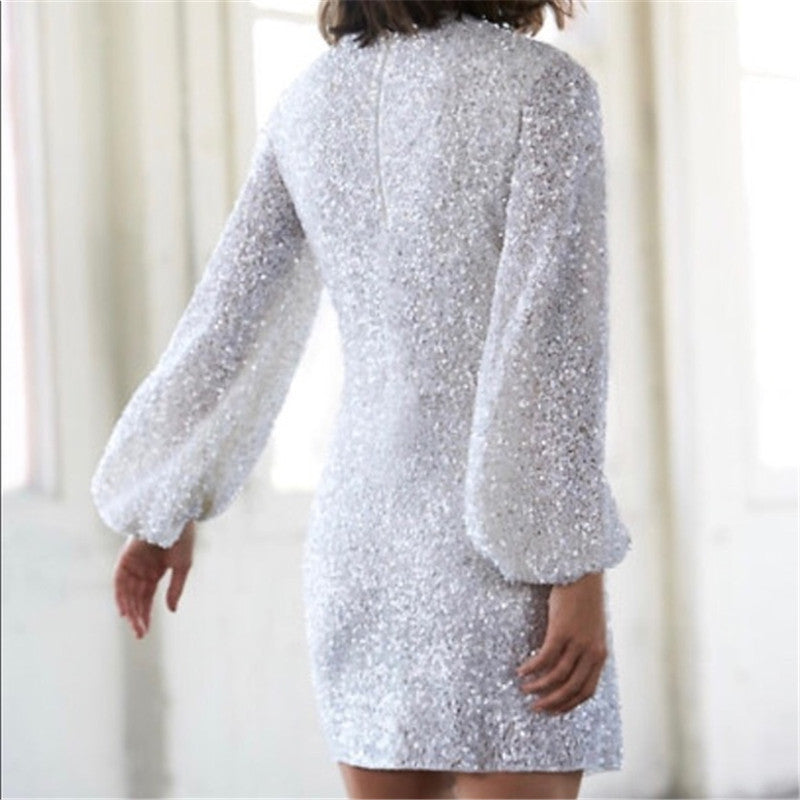 Women's White Sequin Long Sleeve Dress