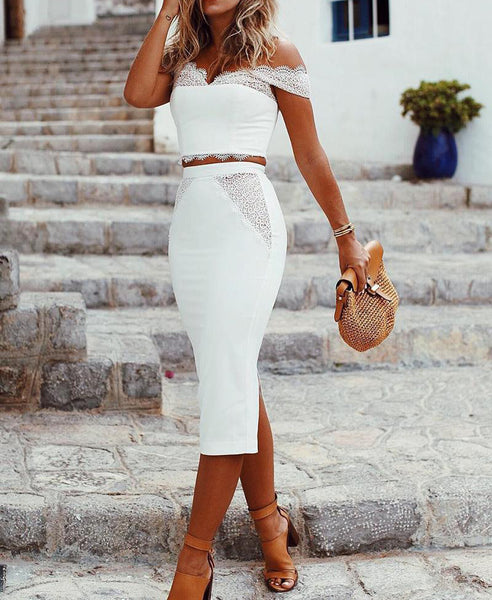 White Women's Sexy Lace Two-Piece Dress