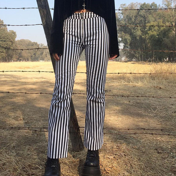 Women'S Striped Zipper Casual Trousers