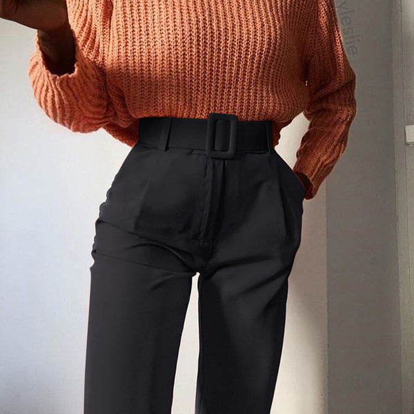 Casual Slim Solid Color High Waist Pants