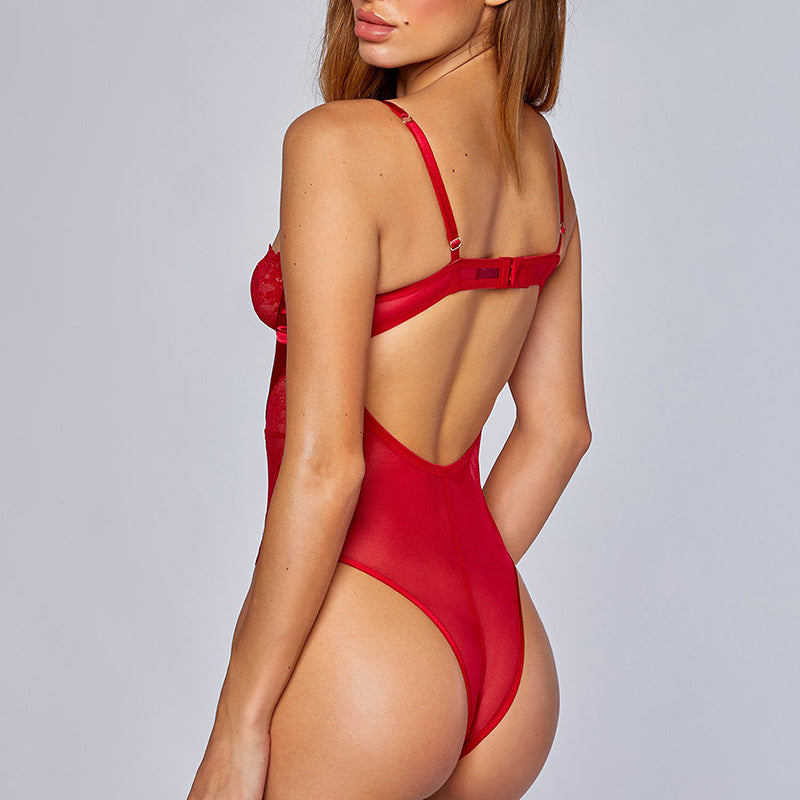 Cross Backless Sexy Lace Sling One Piece Bodysuit