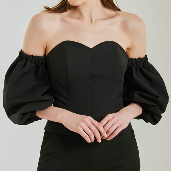 Solid Color Backless Word Shoulder Wrapped Chest Top