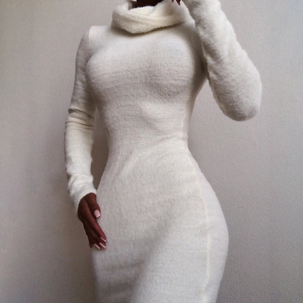 Long Sleeved High Neck Bag Hip Dress