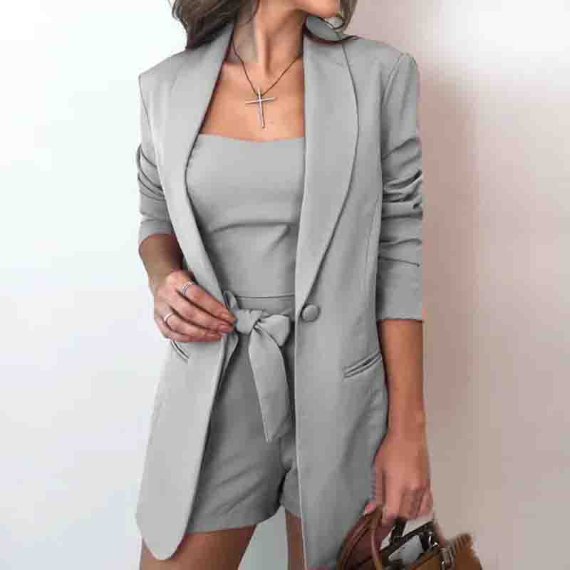 Solid Top & Blazer Coat & Shorts Sets
