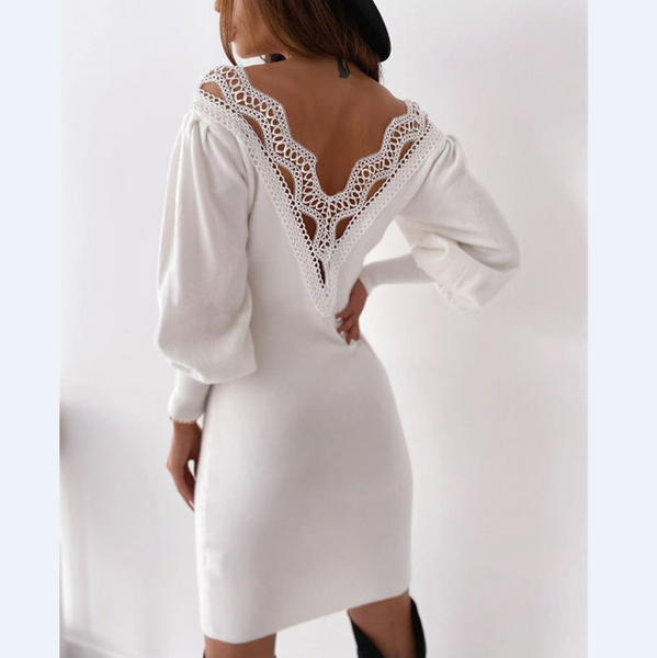 Open Back Sexy Lace V-Neck Long Sleeve Dress