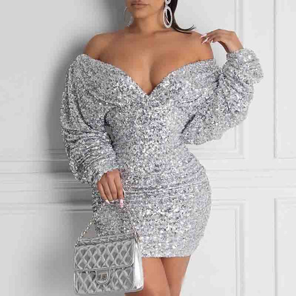 Sequined One-Shoulder Tight-Fitting Hip Dress