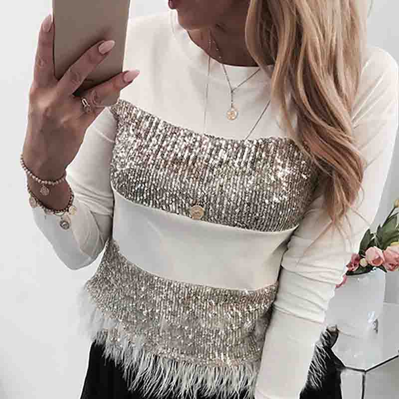 Long Sleeve Design Sequined T-Shirt