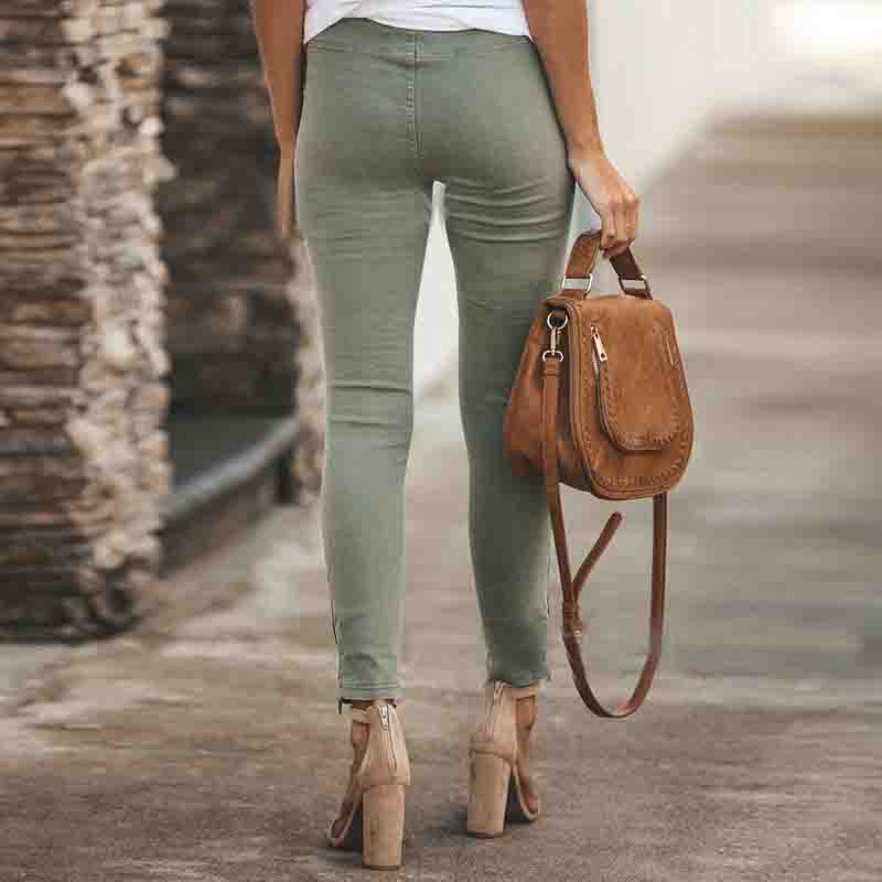 Stretch Tight Zipper Pants