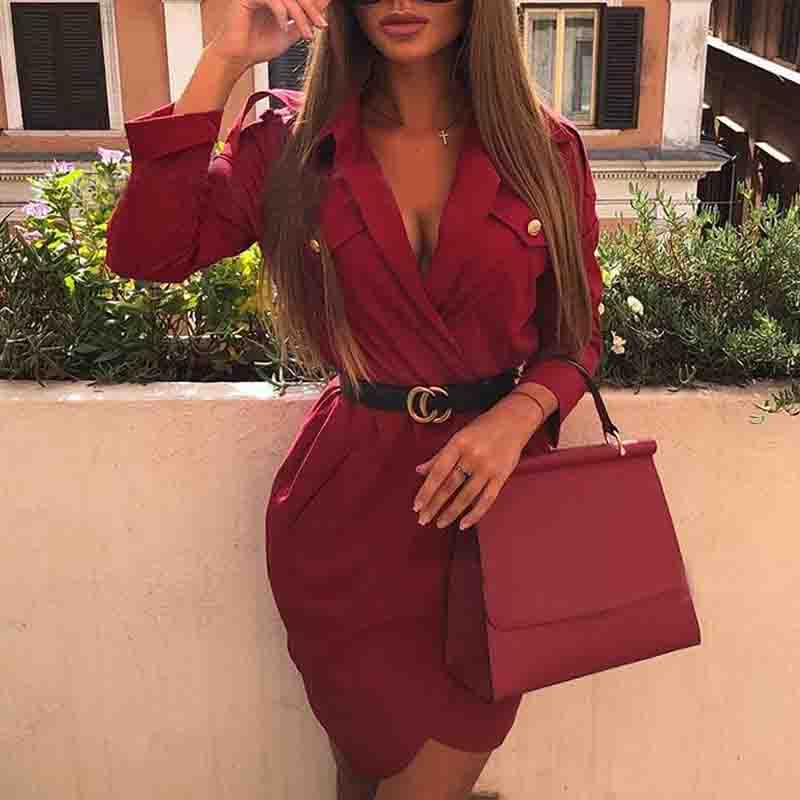 V-Neck Irregular Long Sleeve Dress