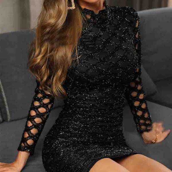 Sequin Solid Color Mesh Long Sleeve Dress