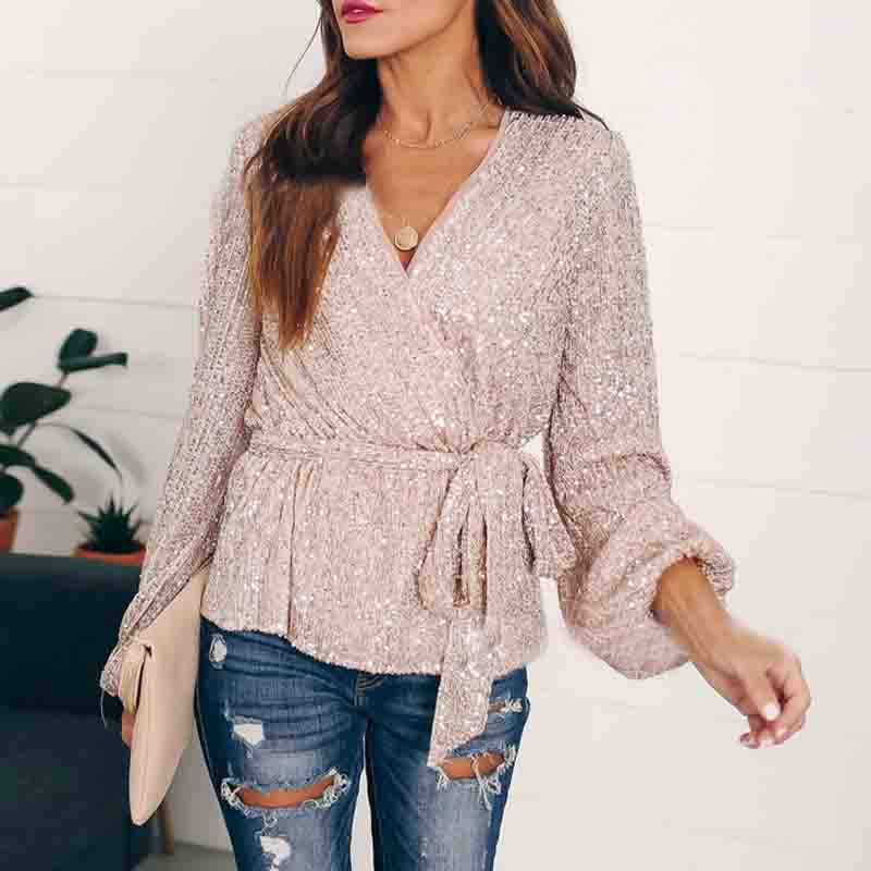 Long Sleeve Sequin Shirt
