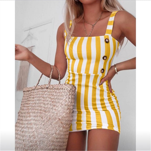Women Fashion Striped Mini Sexy Button Dress