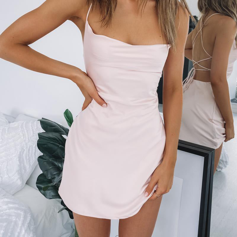 Fashion Sexy Strapless Slim Solid Color Bag Hip Sling Dress